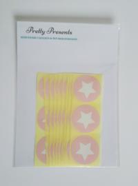 Stickers ster rond baby roze - 30 stuks