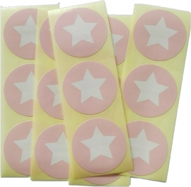 Stickers ster rond baby roze - 30 stuks