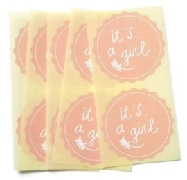 Stickers it's a girl  baby roze - 20 stuks