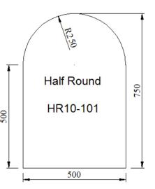 Kachelvloerplaat halfrond 500 x 750 x 6 mm