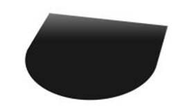 Nr 31-120 Vloerplaat Glas - Zwart (Halfrond) BxD 100 x 120 x 0,6cm