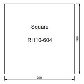 Kachelvloerplaat vierkant  900 x 900 x 6 mm