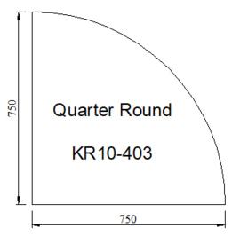 Kachelvloerplaat kwartrond 750 x 750 x 6 (Nieuw)