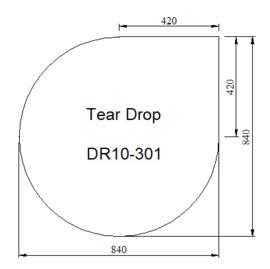 Kachelvloerplaat druppel  840 x 840 x 6 mm
