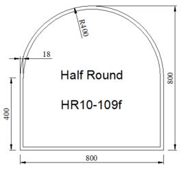 Kachelvloerplaat halfrond met facet 800 x 800 x 6