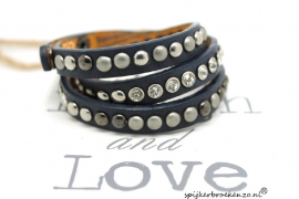 Armband diverse studs jeans blauw
