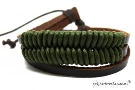Armband leer-touw groen