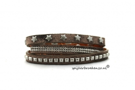 Armband studs strass ster bruin
