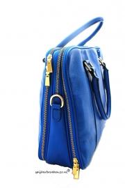Luxe leren laptop tas blauw