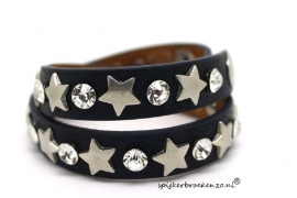 Armband leer blauw ster