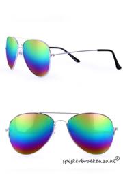 Regenboog zonnebril spiegelend glas