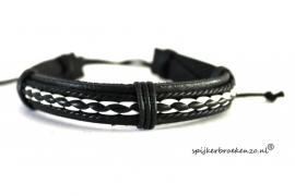 Armband wit-zwart leer