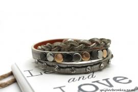 Armband studs en steentjes taupe