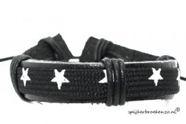 Armband ster zwart-wit leer