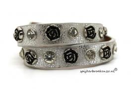 Leren armband studs rozen zilver