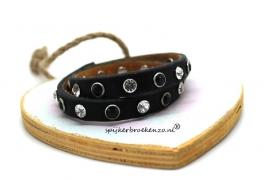 Leren armband steentjes zwart