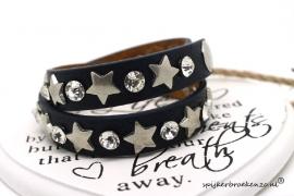 Armband leer blauw ster