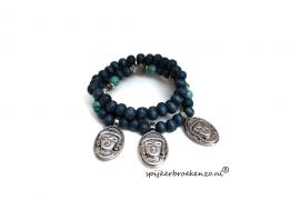 Armband Buddha blauw