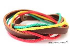 Leren armband groen-geel-rood