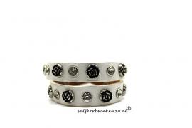 Leren armband studs rozen wit