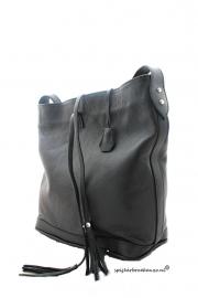 Luxe leren tas zwart