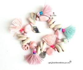 Armband Ibiza schelp roze