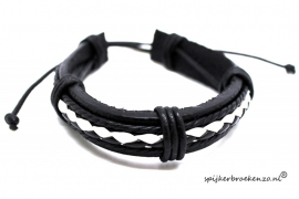 Armband zwart-wit leer