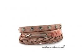 Armband studs ster roze