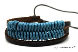 Armband leer-touw blauw