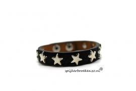 Armband leer zwart ster