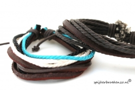 Leren armband touw bruin