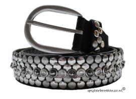 Zwarte riem met zilveren studs