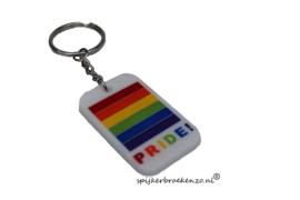 Pride sleutelhanger wit