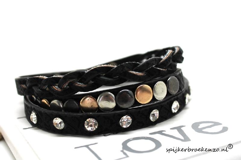 Armband studs en steentjes zwart