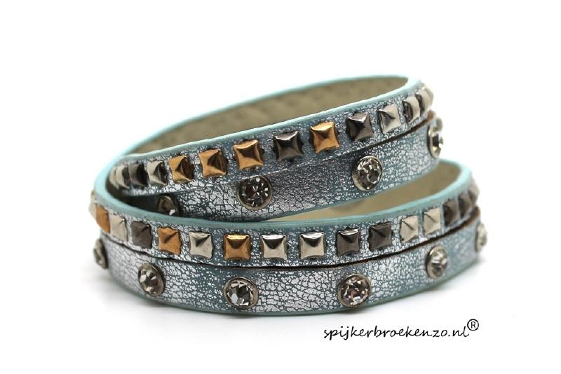Armband diverse studs blauw