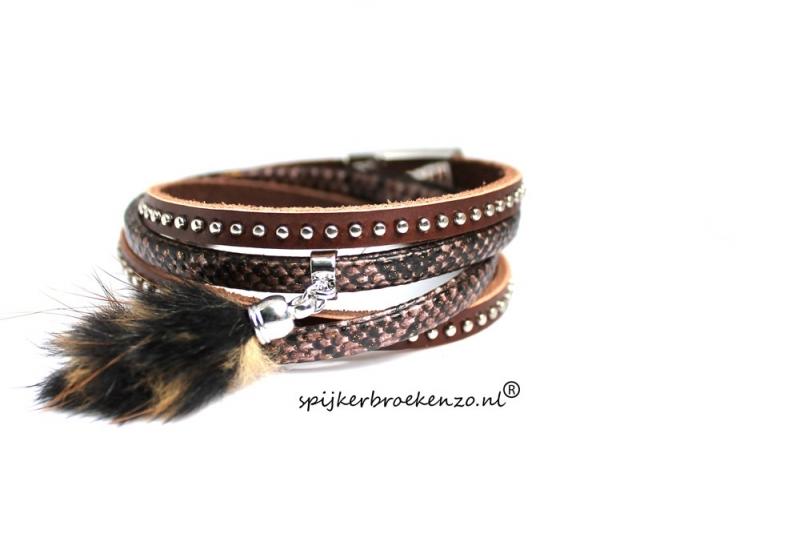armband magneetsluiting bruin veer