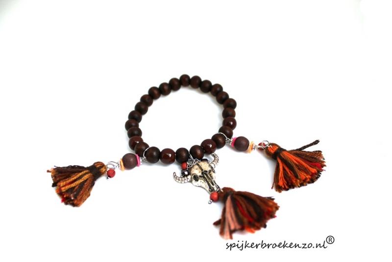Armband kraal Ibiza bruin