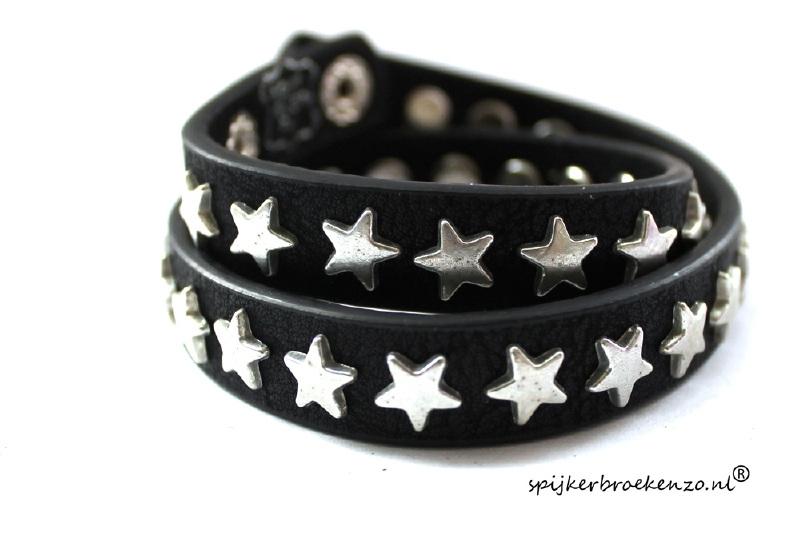 Wikkel armband leer ster zwart