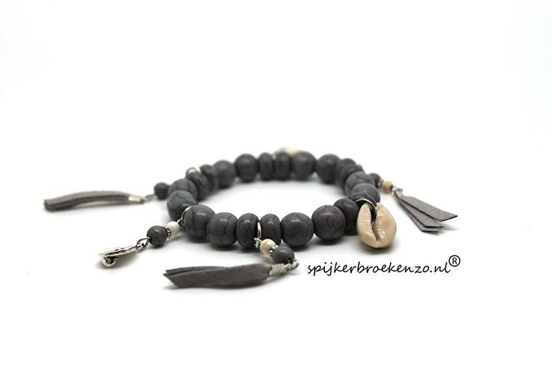 Armband kraal steen grijs