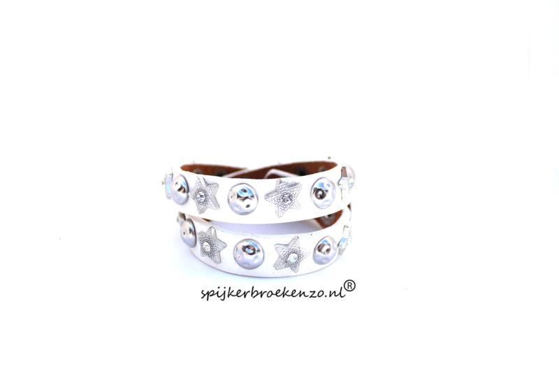 Leren armband studs ster wit