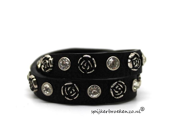 Leren armband studs rozen zwart