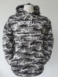 Camouflage Sweater Grijs met Witte tekst