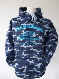 Camouflage Sweater Blauw met Blauwe tekst