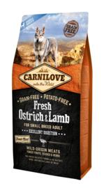 CARNILOVE DOG | Fresh Struisvogel & lam (SMALL BREED!) | 6 KG (THT 30-11-2019)