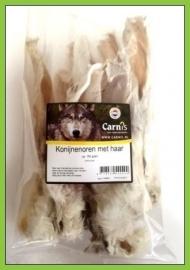 CARNIS | Konijnenoren met haar | +/- 150 gram