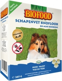 BIOFOOD | Schapenvet MINI OF MAXI - KNOFLOOK | 40 of 80 stuks