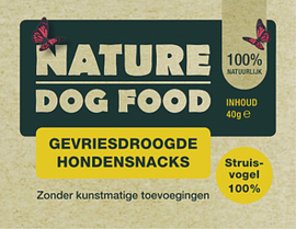 NATURE DOGFOOD | gevriesdroogd 100% STRUISVOGEL | 40 gram