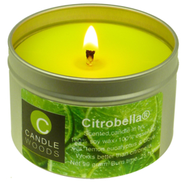 Citrobella® Kleine citronella kaars in blik met vensterdeksel en katoenlont 90 g