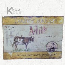 Blikken Wandbord `Dairy Fresh` - Geel