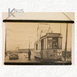 Wandkaart met oude foto van tram - van Kolony